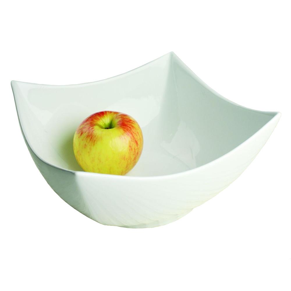 Omniware Pagoda White Stoneware Fruit or Serving Bowl