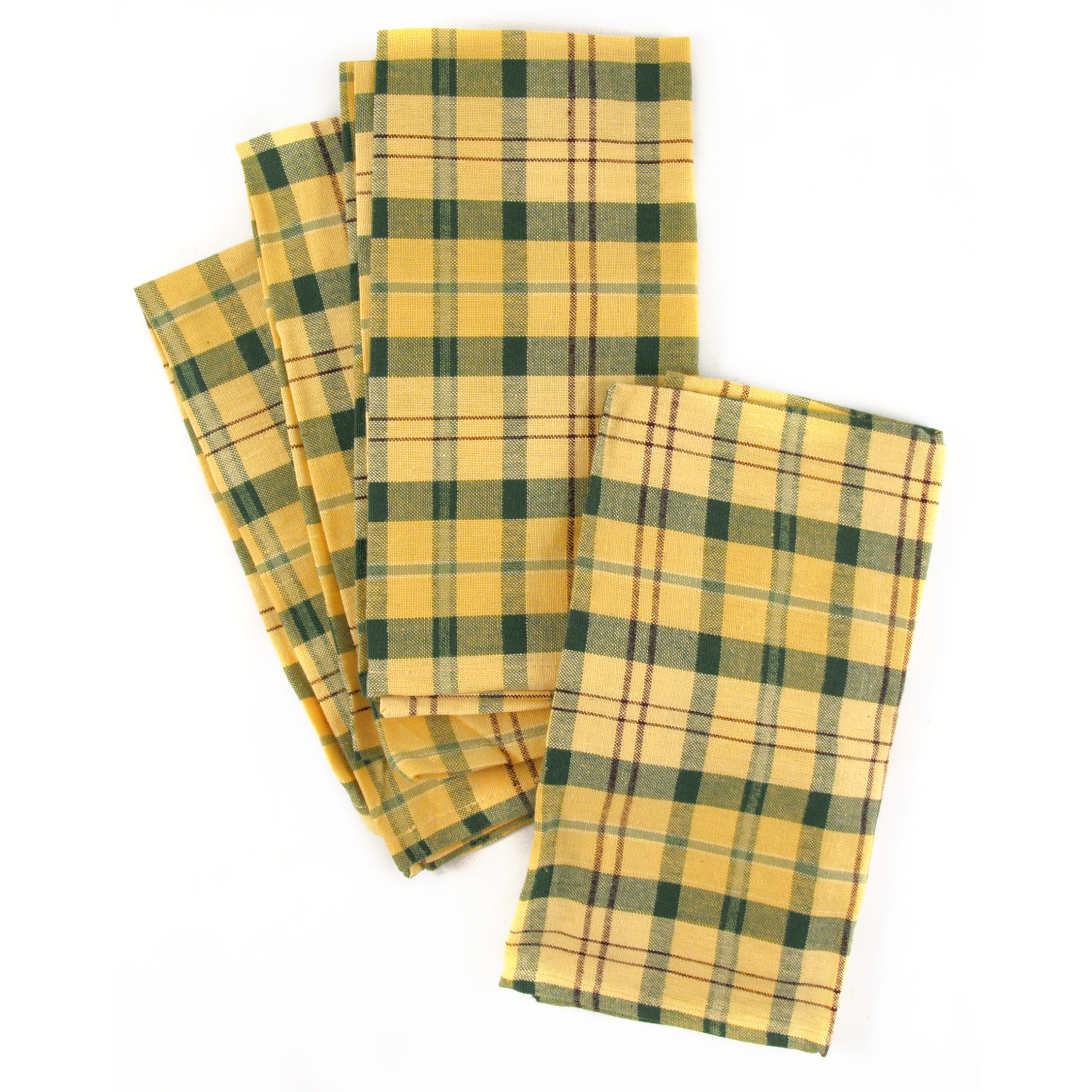 Town and Country Home Yellow and Green Plaid 100% Cotton Cloth Dinner Napkin, Set of 6