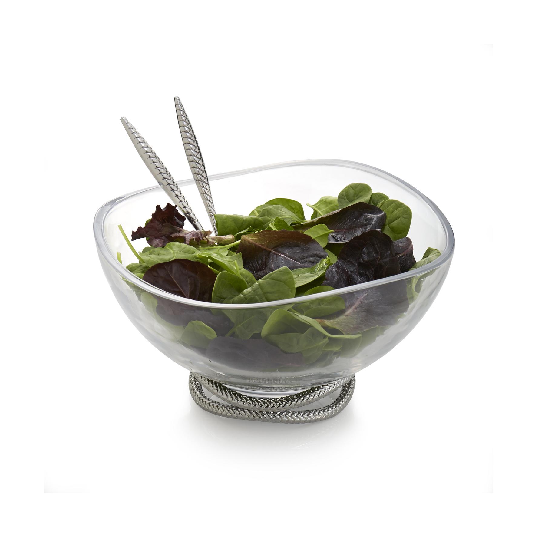 Nambe Braid Glass 12 Inch Salad Bowl with Servers