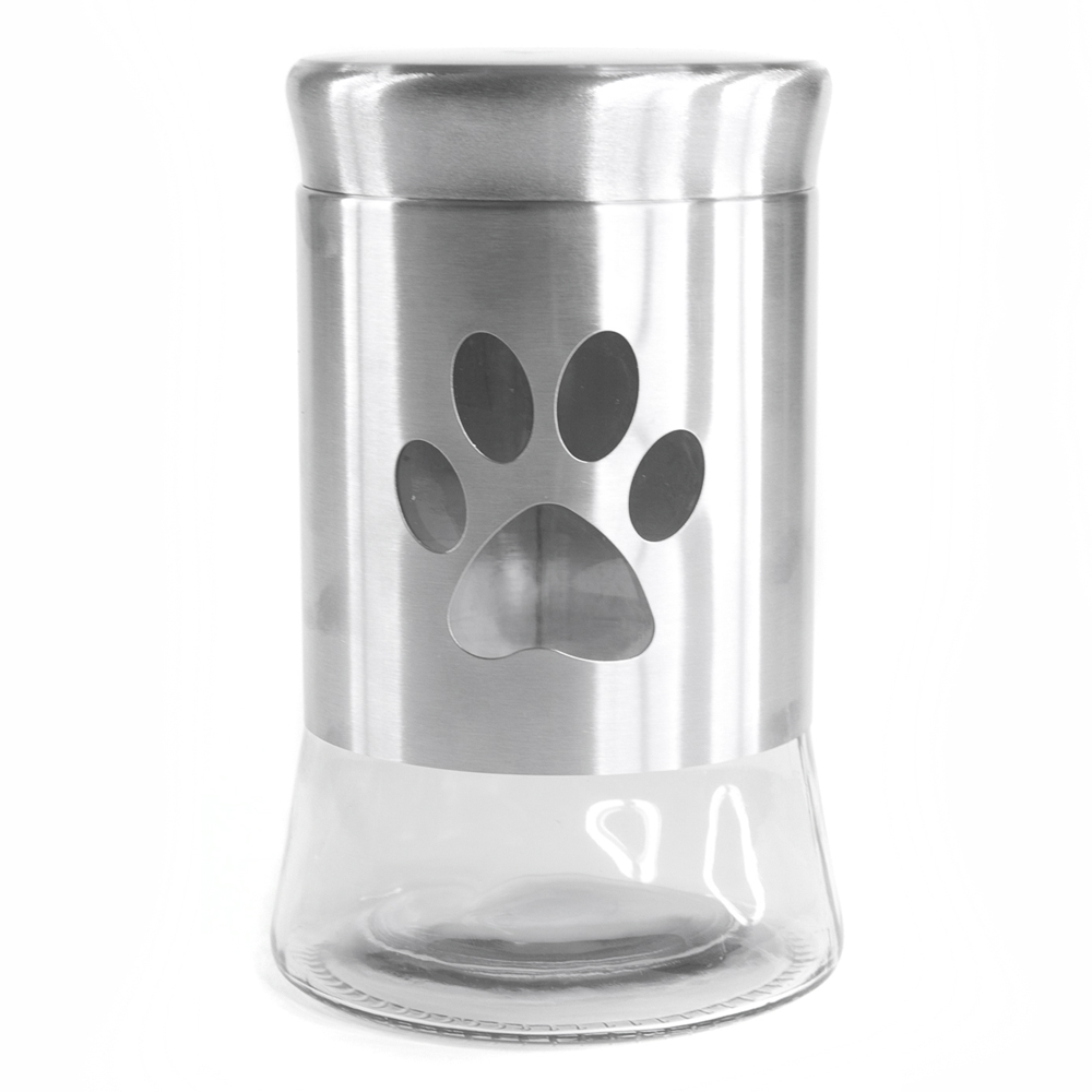 International Housewares Corp Glass and Stainless Steel 33 Ounce Pet Treat Jar