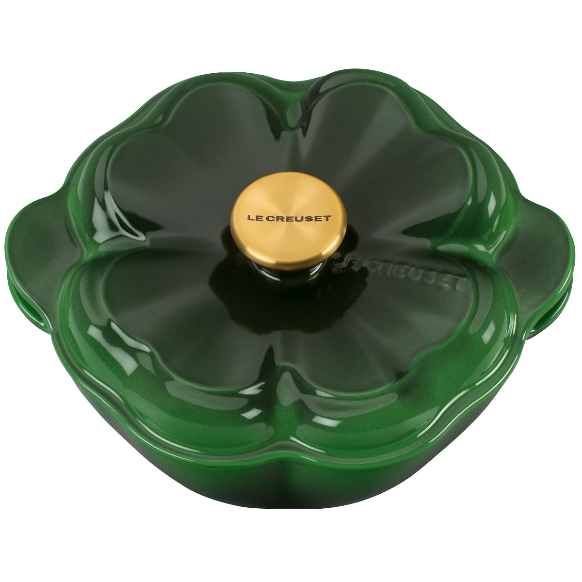 Le Creuset Green Enameled Cast Iron 2.25 Quart Clover Cocotte with Gold Knob