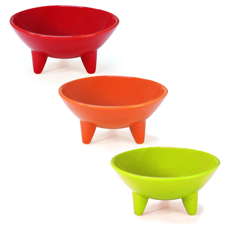 Chantal 3 Piece Fiesta Colored 6 Ounce Molecajete Bowl Set
