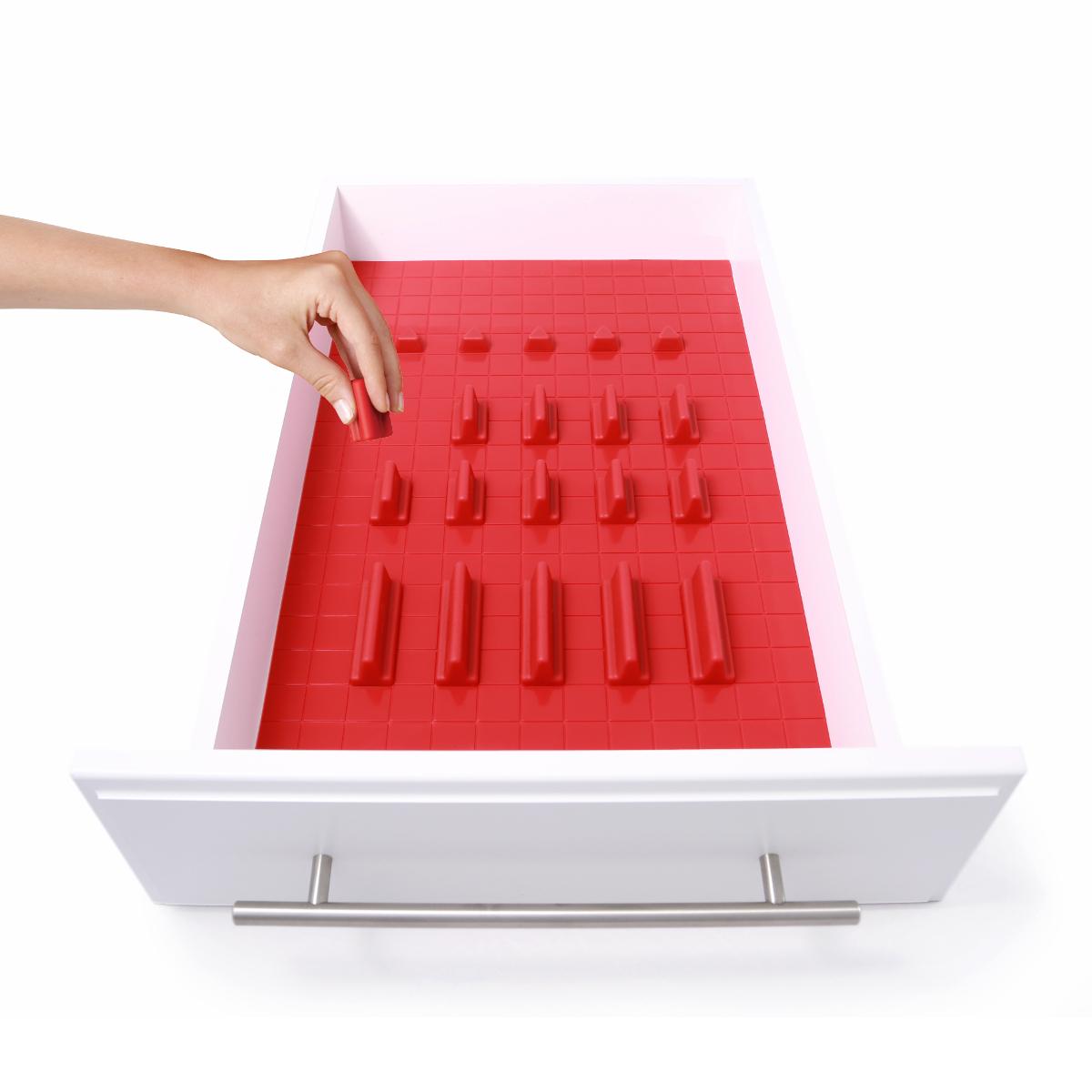 KMN Home DrawerDecor Red Silicone 21 Piece Customizable Drawer Organizer Deluxe Starter Kit