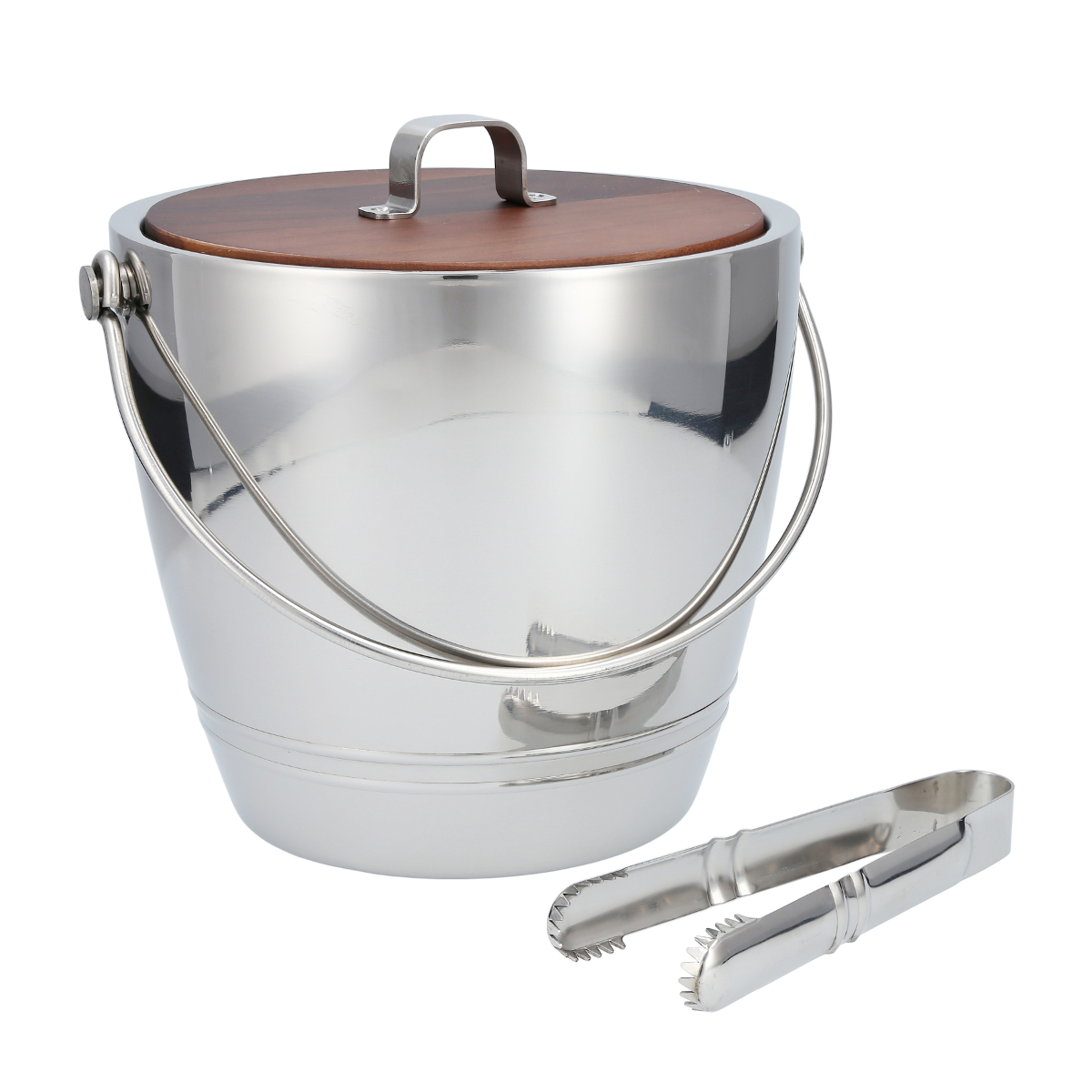 CraftHouse by Fortessa Stainless Steel Ice Bucket with Tongs and Wood Lid