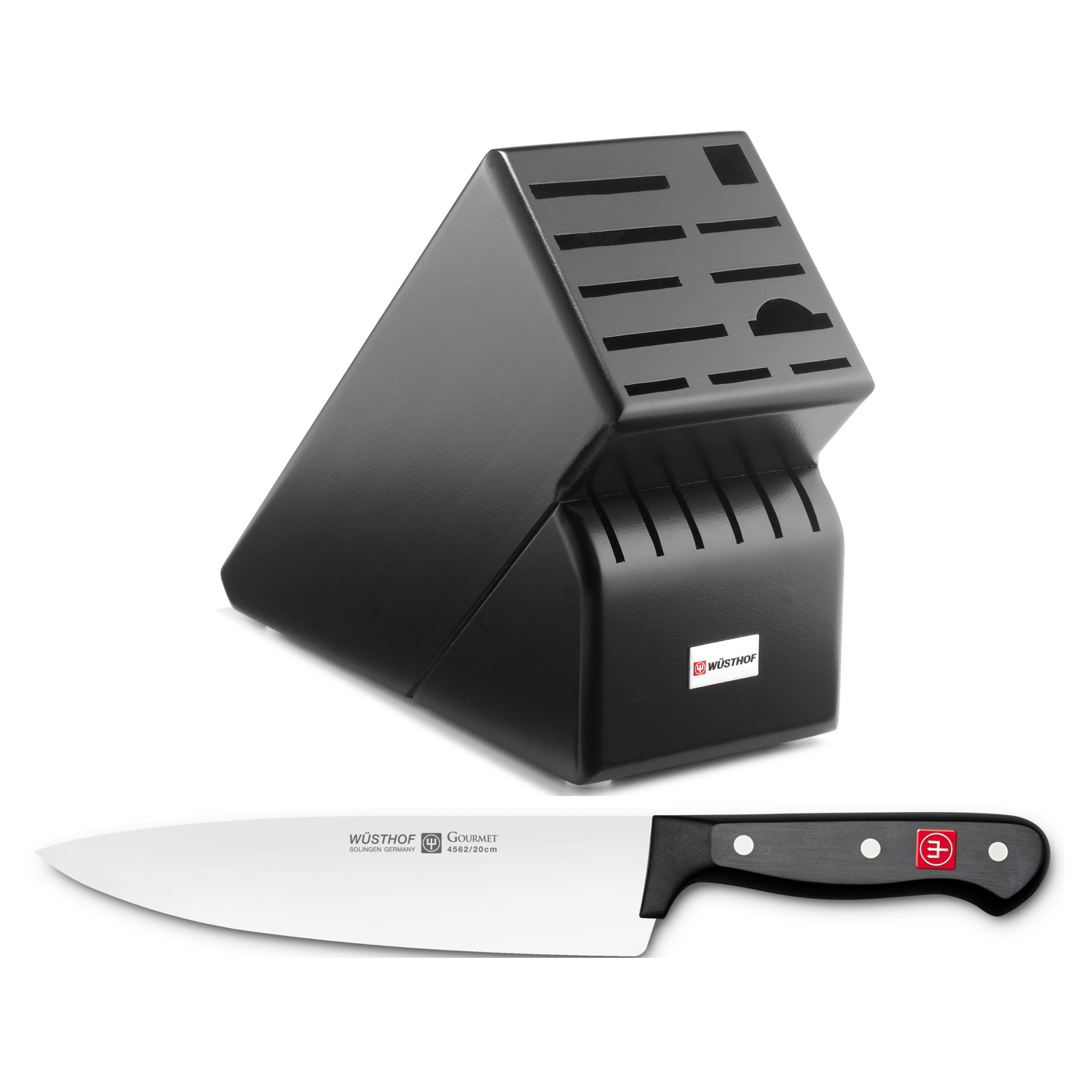 Wusthof Blackwood 17-Slot Knife Block with Gourmet Steel 8 Inch Cook's Knife