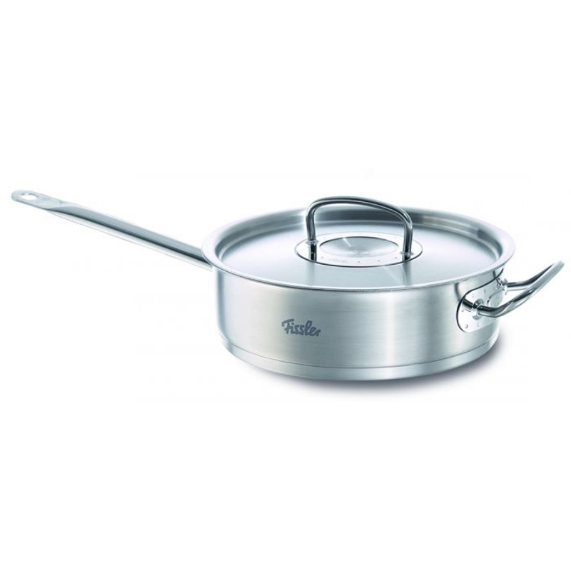 Fissler Original Profi 18/10 Stainless Steel 3.2 Quart Saute Pan with Lid, Stick, and Helper Handles
