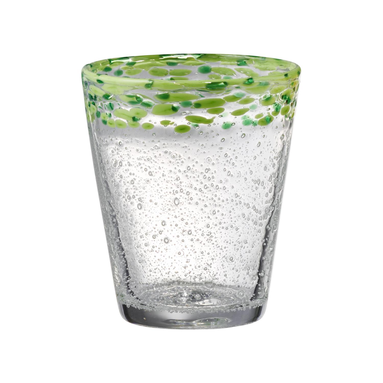 Artland Mingle Green Rim 14 Ounce DOF Glass