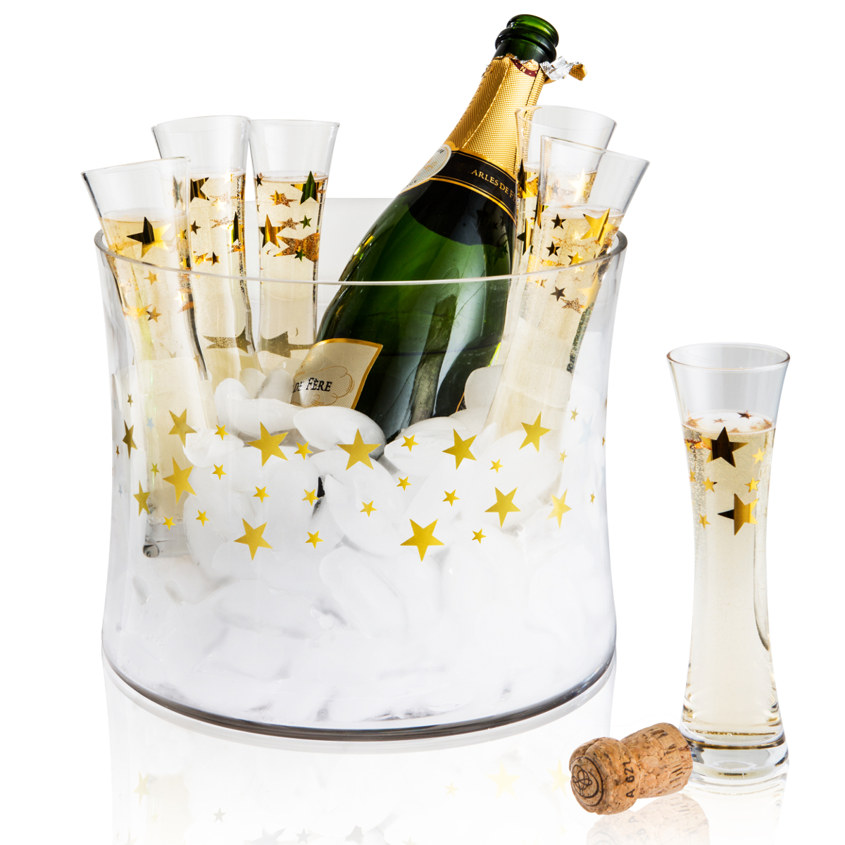 Artland Gold Stars 7 Piece Glass 4 Ounce Stemless Toasting Flute Set with Ice Bucket