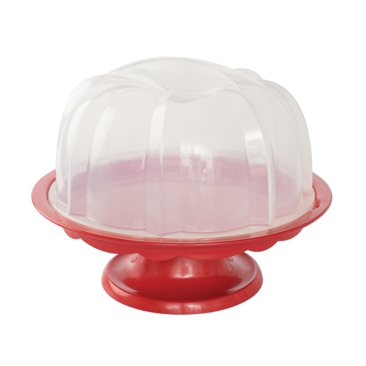 Nordic Ware Red 12.75 Inch Bundt Cake Stand with Dome Lid