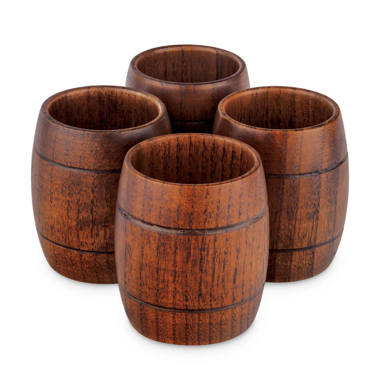Final Touch Wood 2 Ounce Barrel Shot Glass, Set of 4