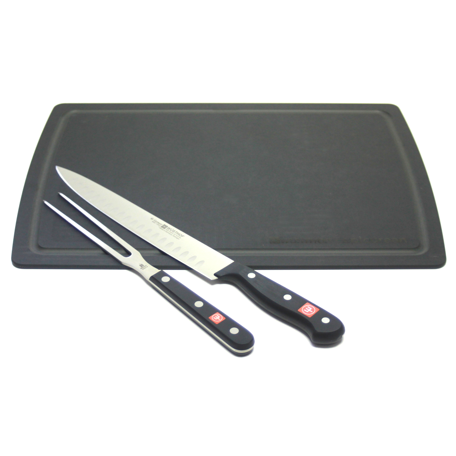 Wusthof Gourmet 2 Piece Carving Set with Black Epicurean Board