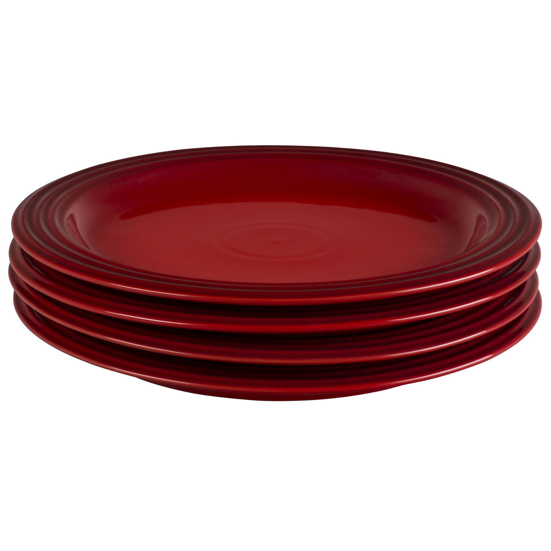 Le Creuset Cerise Stoneware 10.5 Inch Dinner Plate, Set of 4