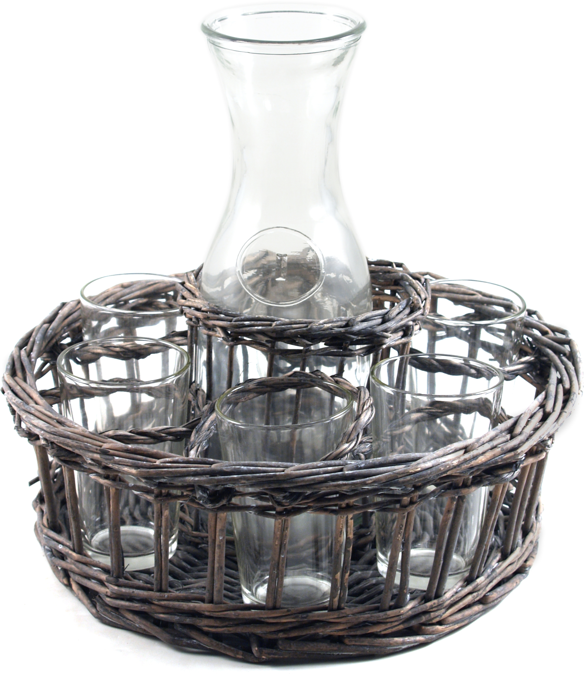Willow Basket 8 Piece Milk Bottle and Glass Set