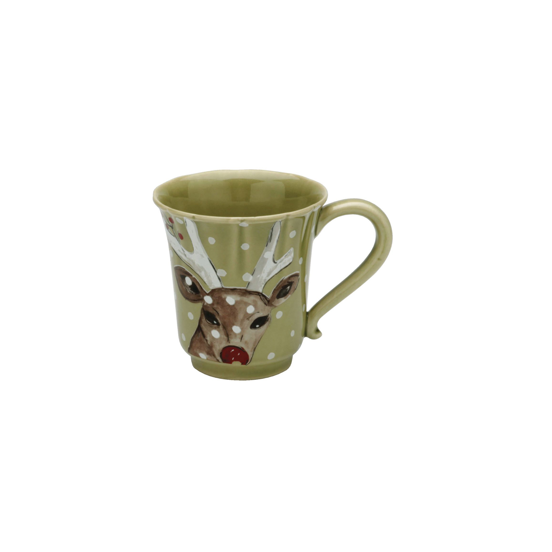 Casafina Deer Friends Green Stoneware Coffee Mug, Set of 4