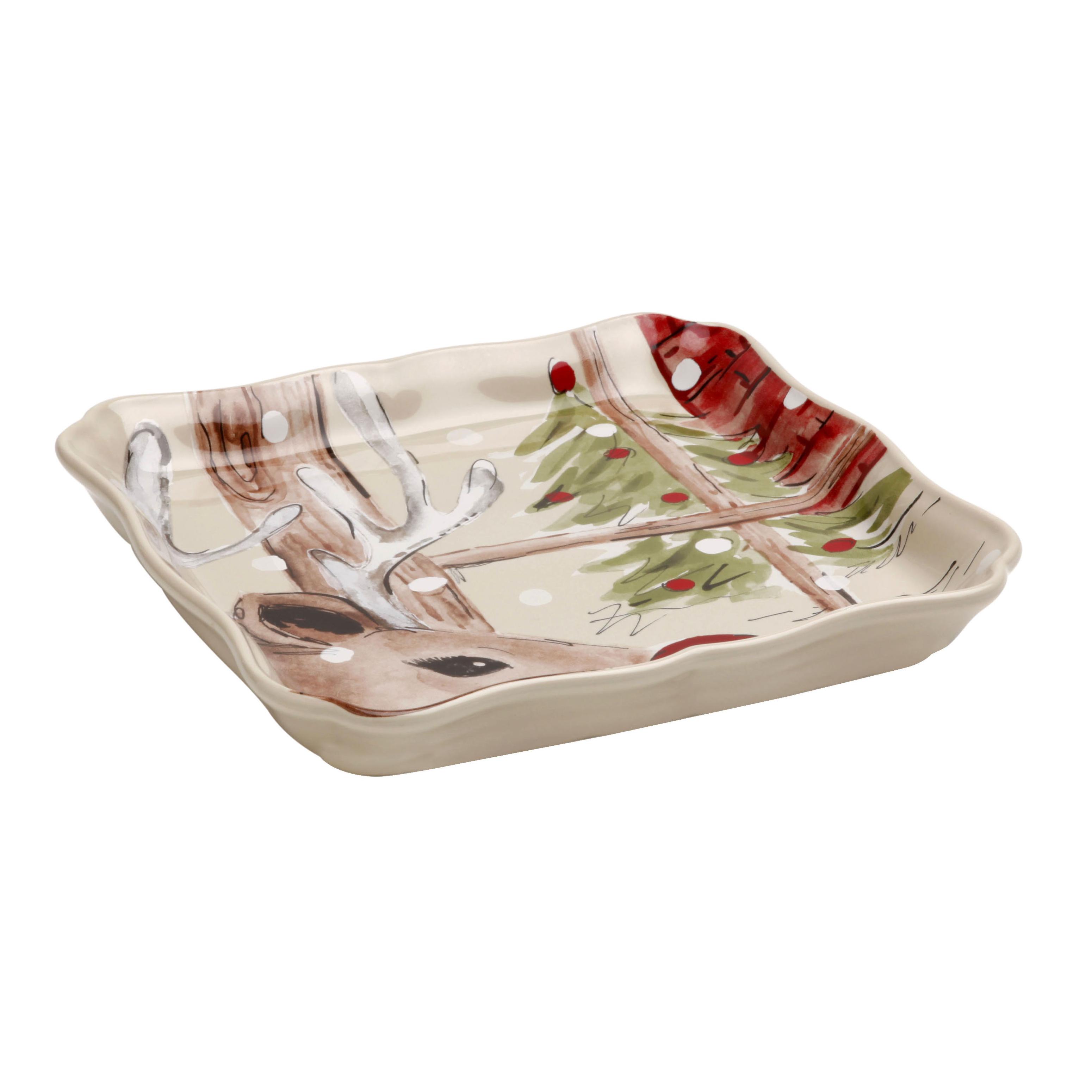 Casafina Deer Friends Linen Stoneware 8.25 Inch Square Tray