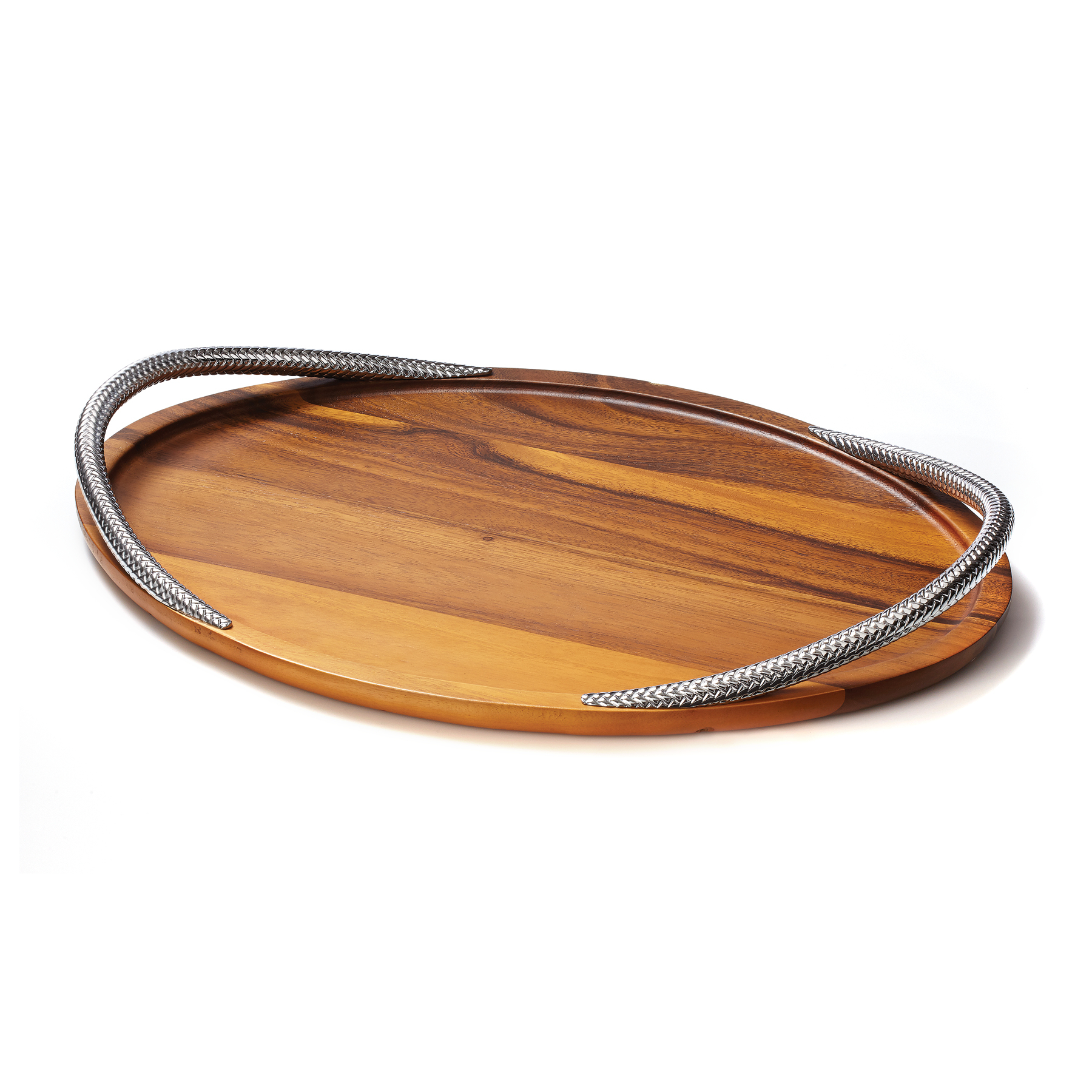 Nambe Braid Chrome Plate and Wood Serving Tray