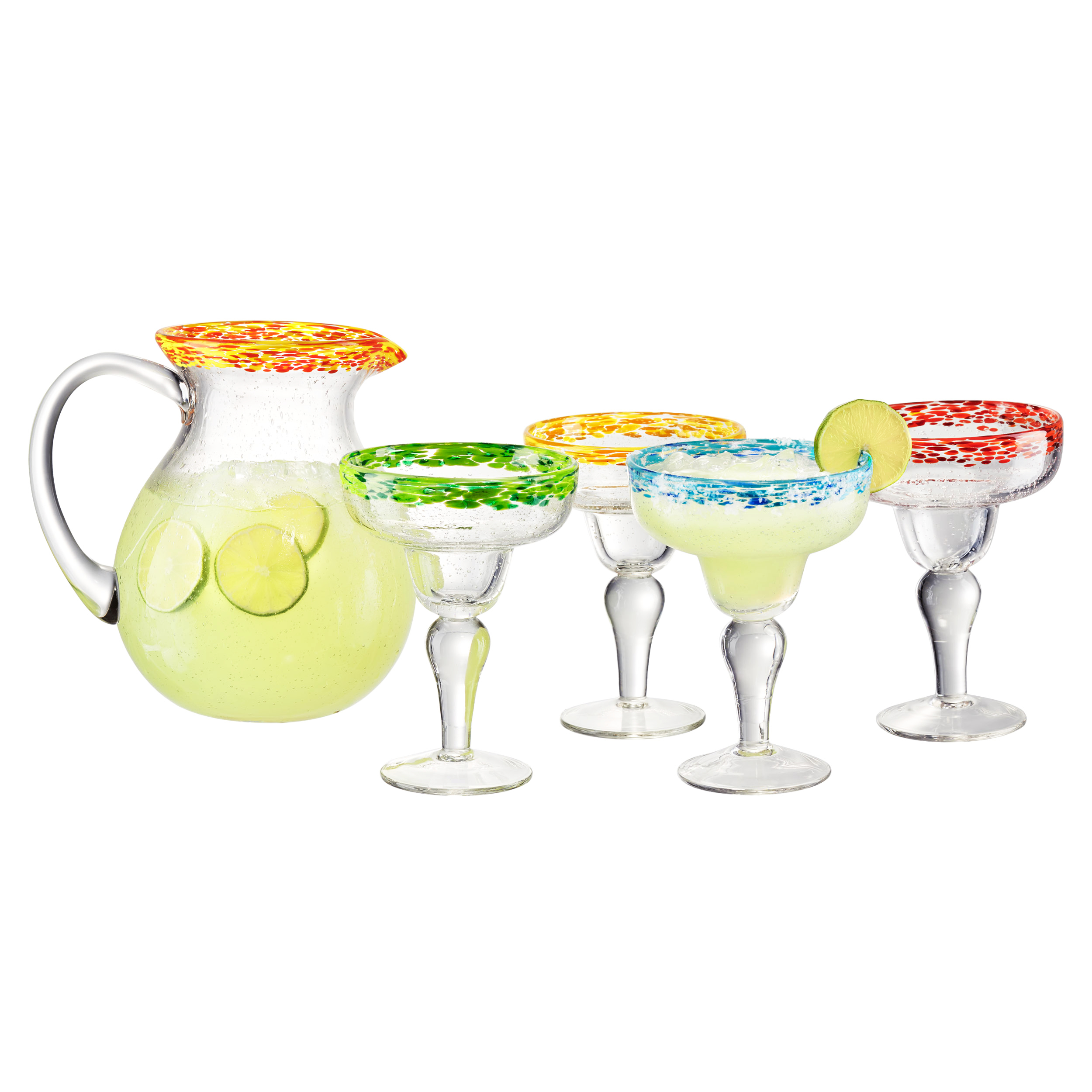 Artland Mingle 5 Piece Margarita Pitcher and Cocktail Glass Set