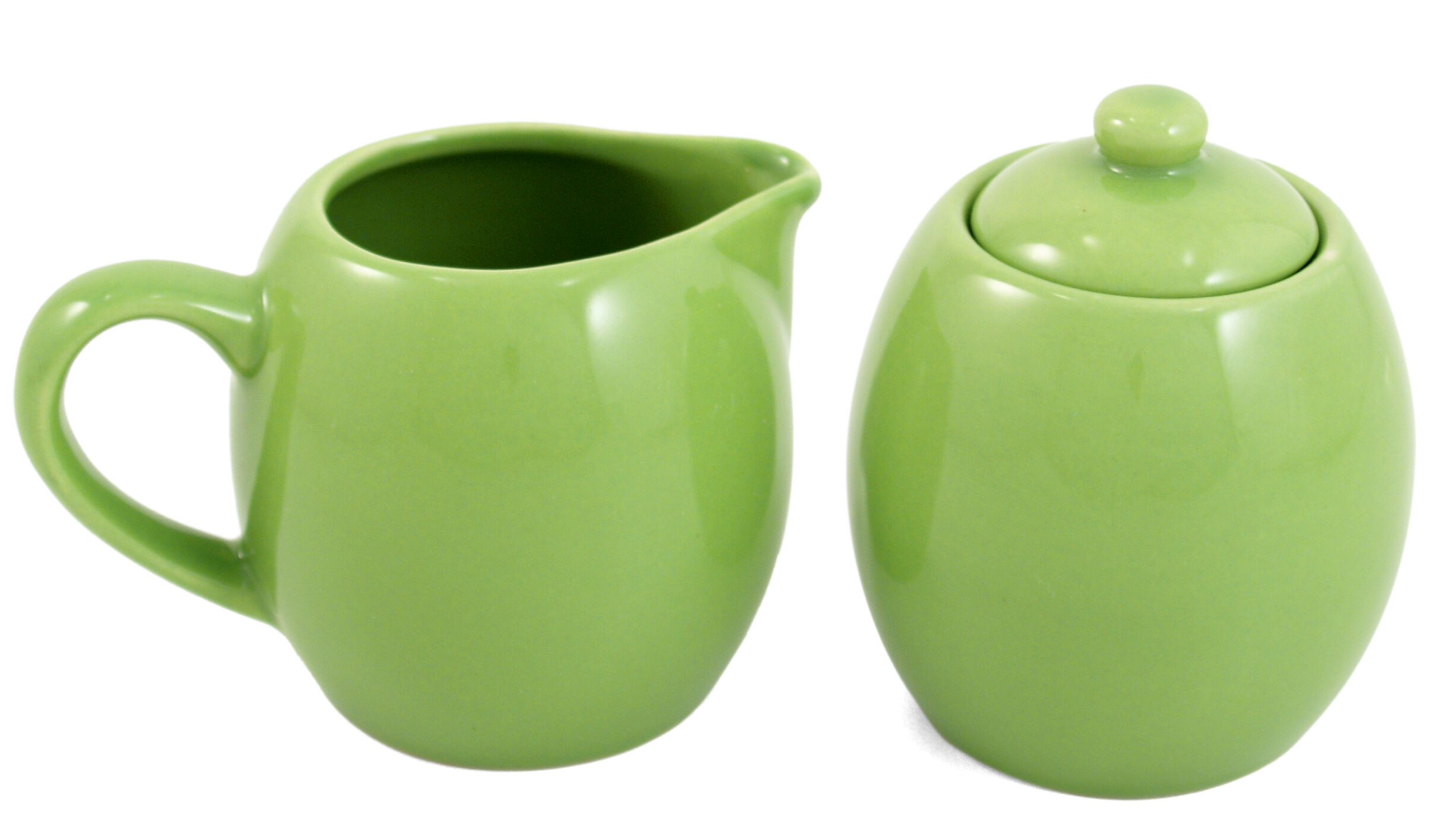 Lime Green Ceramic Creamer and Sugar Service Set with Lid