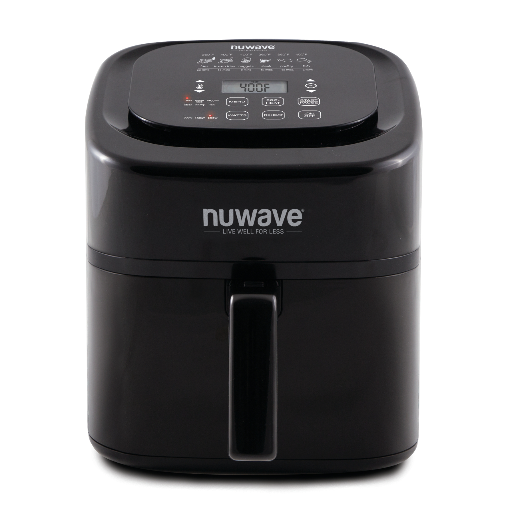 NuWave Brio Black 6 Quart Digital Air Fryer with 3 Piece Gourmet Accessory Kit