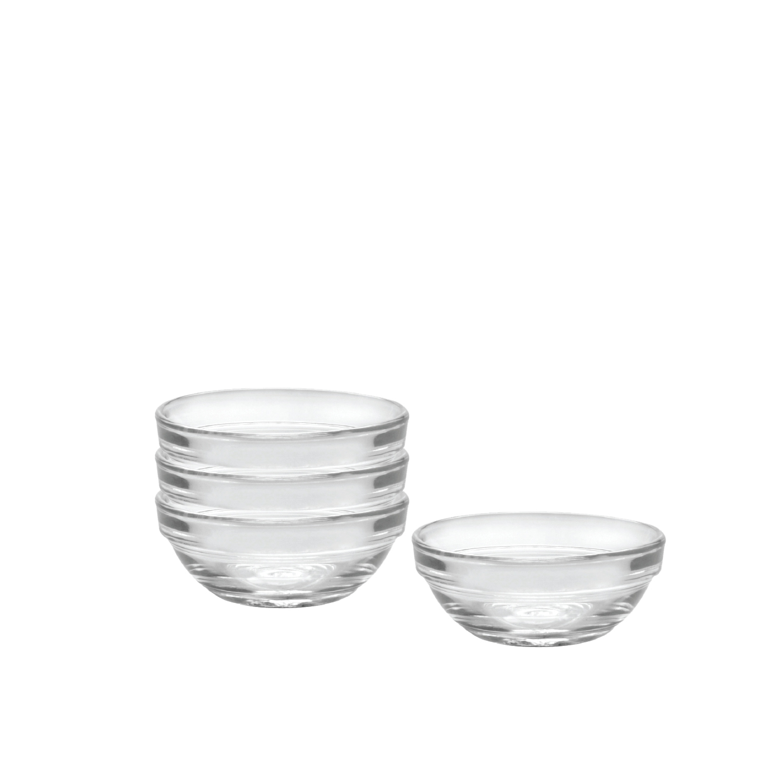 Duralex Lys Clear 2 Ounce Stackable Bowl, Set of 4