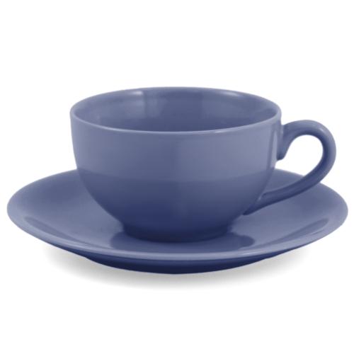 Metropolitan Tea Blue Ceramic Teacup and Saucer Set