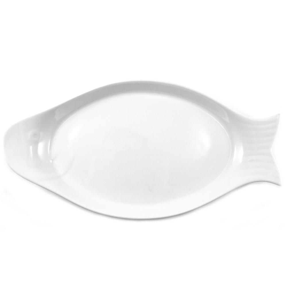 Omniware White Porcelain Fish Platter, Set of 2