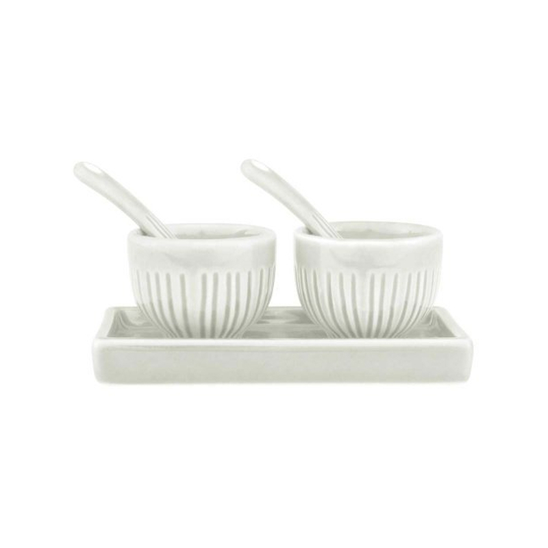 Zak Design 5 Piece White Stoneware Salt and Pepper Set