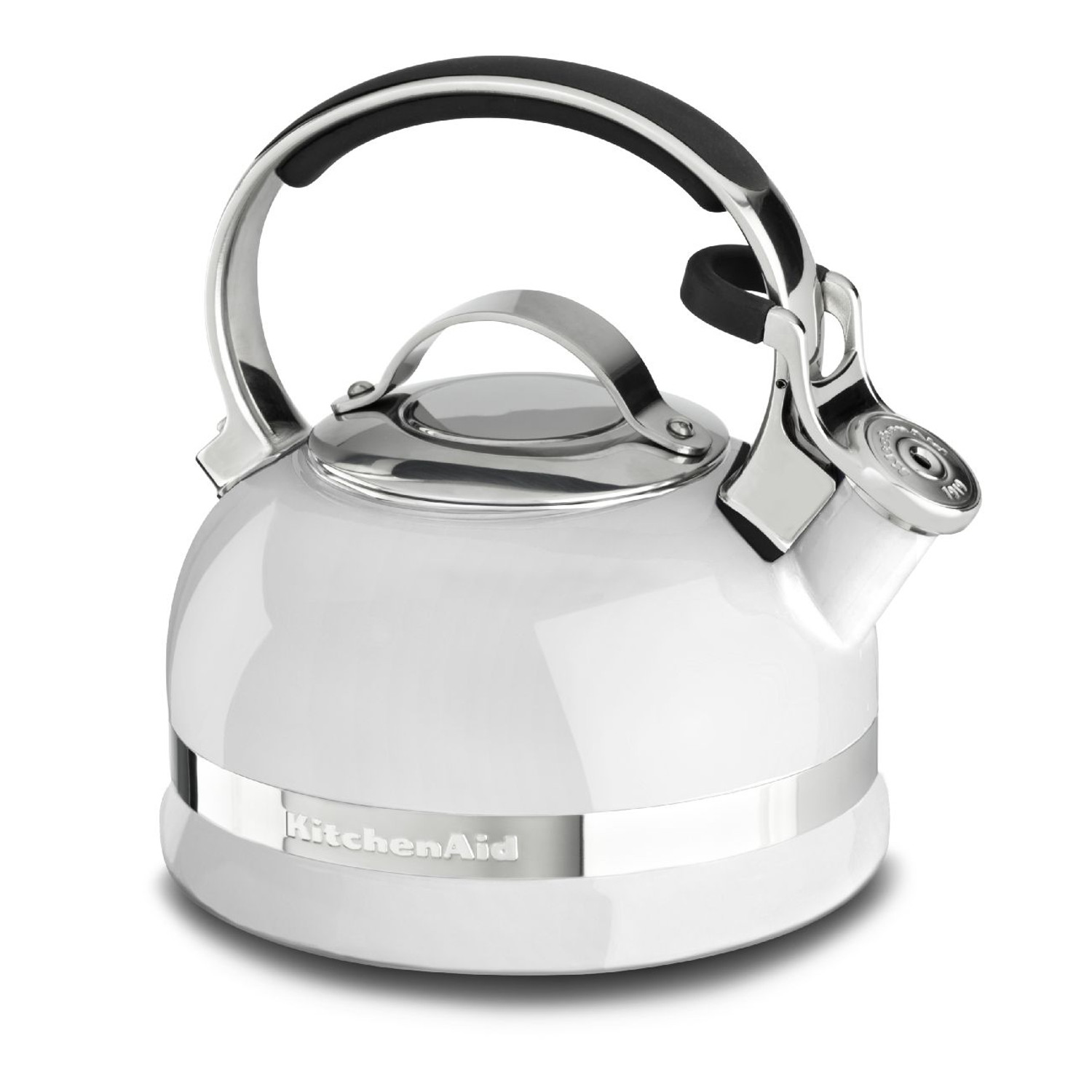 KitchenAid KTEN20SBWH White 2 Quart Kettle with Full Stainless Steel Handle and Trim Band