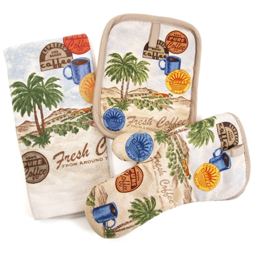 Fresh Coffee Palm Trees Kitchen Towel Potholder Mit, 3 Piece