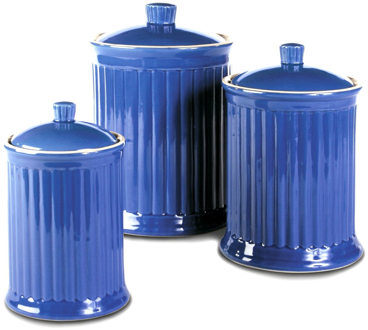 OmniWare Simsbury Blue Stoneware Canister, Set of 3