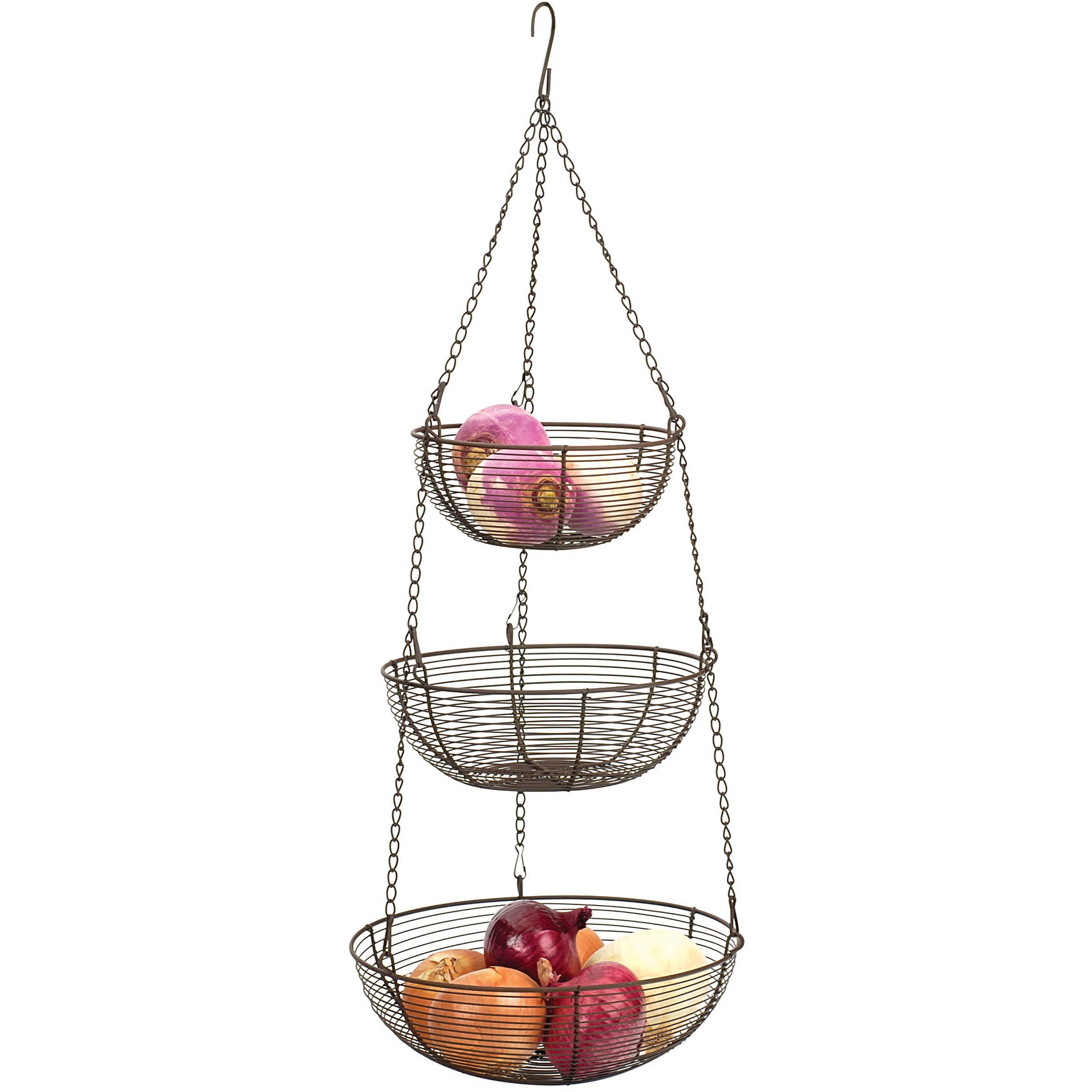 RSVP Bronze Woven Wire Hanging Storage Baskets