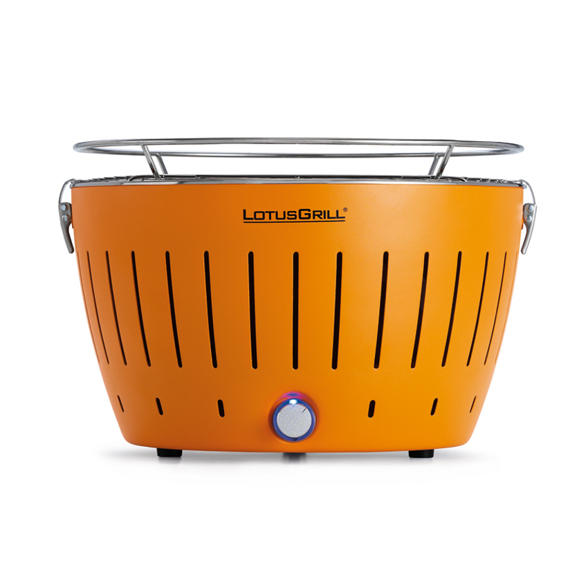 LotusGrill Mandarin Orange Smokeless Charcoal Grill With Transport Bag