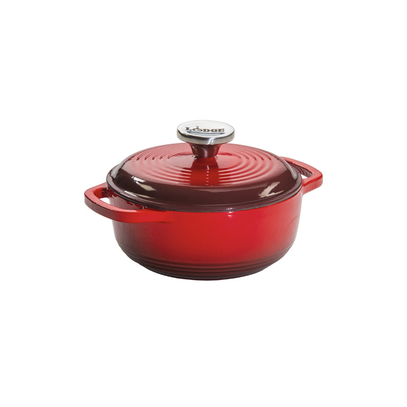 Lodge Red Enameled Cast Iron 1.5 Quart Dutch Oven
