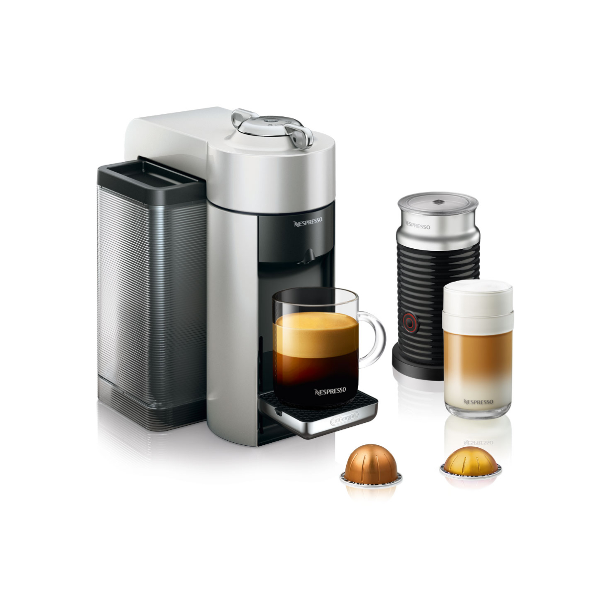 DeLonghi Nespresso Vertuo Silver Coffee and Espresso Machine with Aeroccino Milk Frother