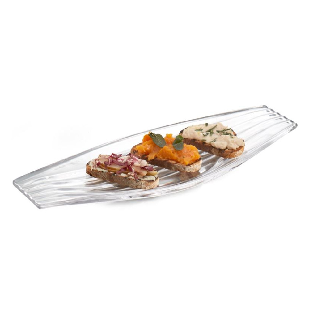 Nambe Drift Glass 18 x 7 Inch Hors d'oeuvre Serving