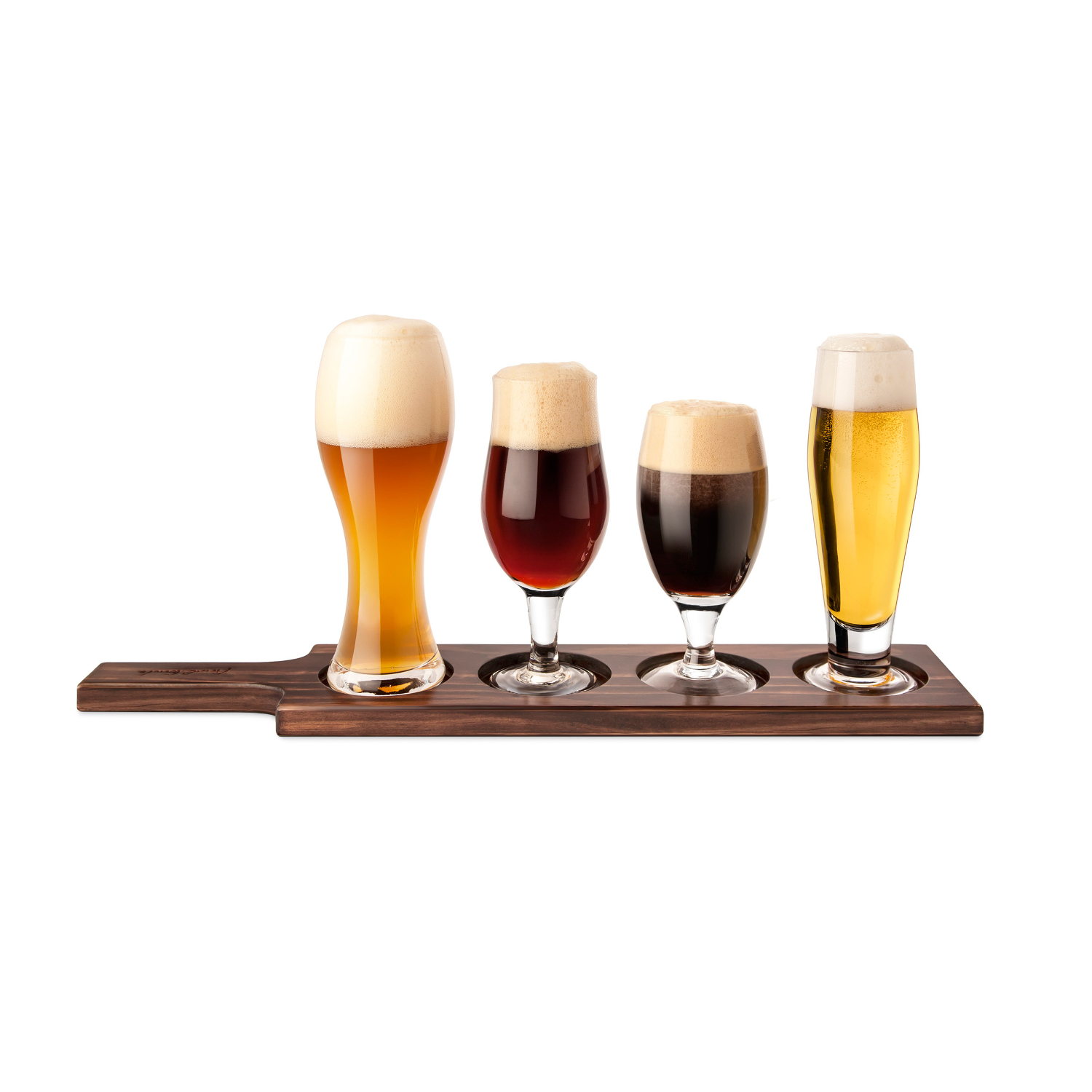 Final Touch 6 Piece Dark Wood and Glass Beer Tasting Paddle Set
