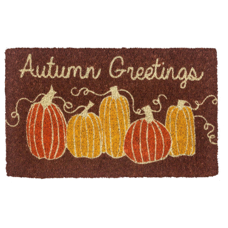 Entryways Autumn Greetings Handwoven Coconut Fiber Doormat