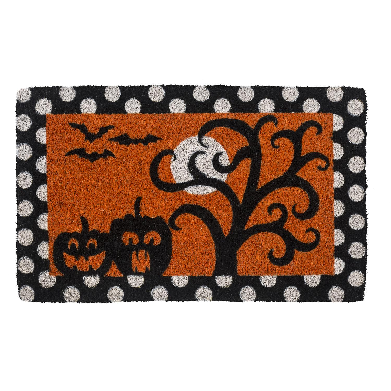 Entryways Frightful and Delightful Handwoven Coconut Fiber Doormat