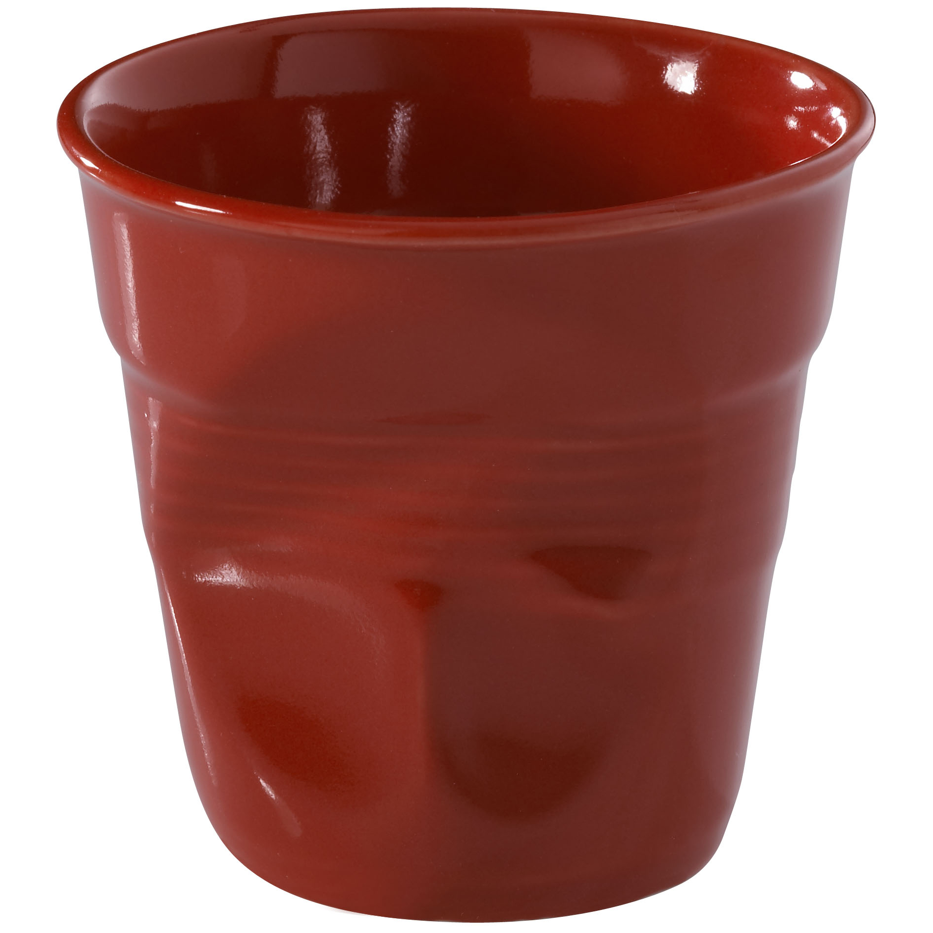 Revol Froisses Pepper Red Porcelain 6.25 Ounce Crumpled Cappuccino Tumbler
