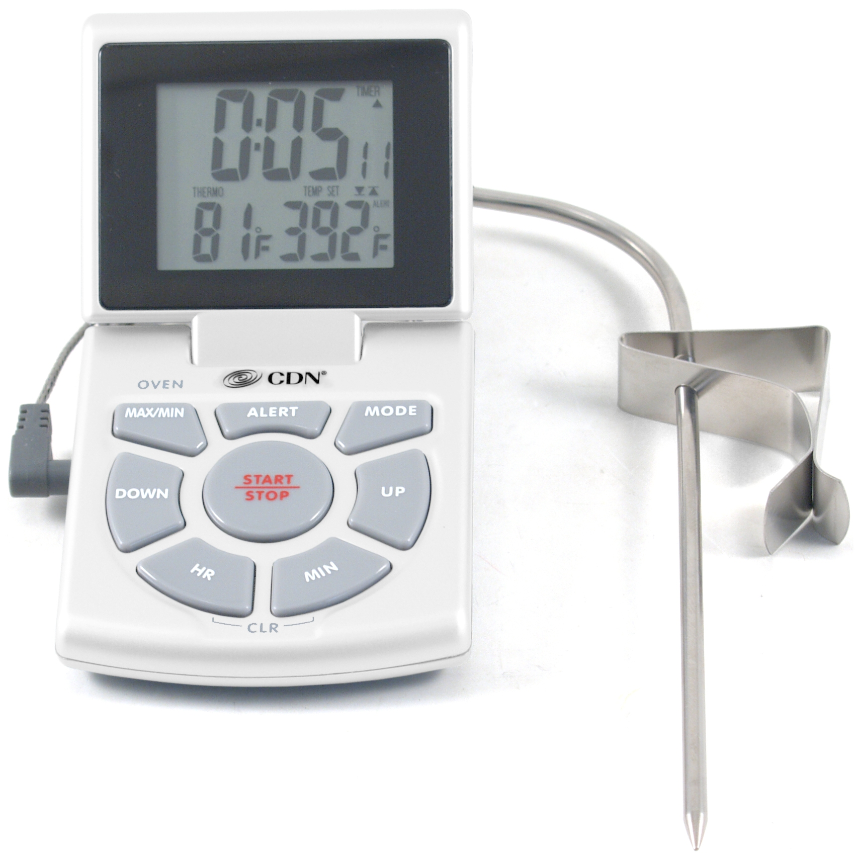 CDN White Combo Probe Digital Thermometer and Timer, with Spanish