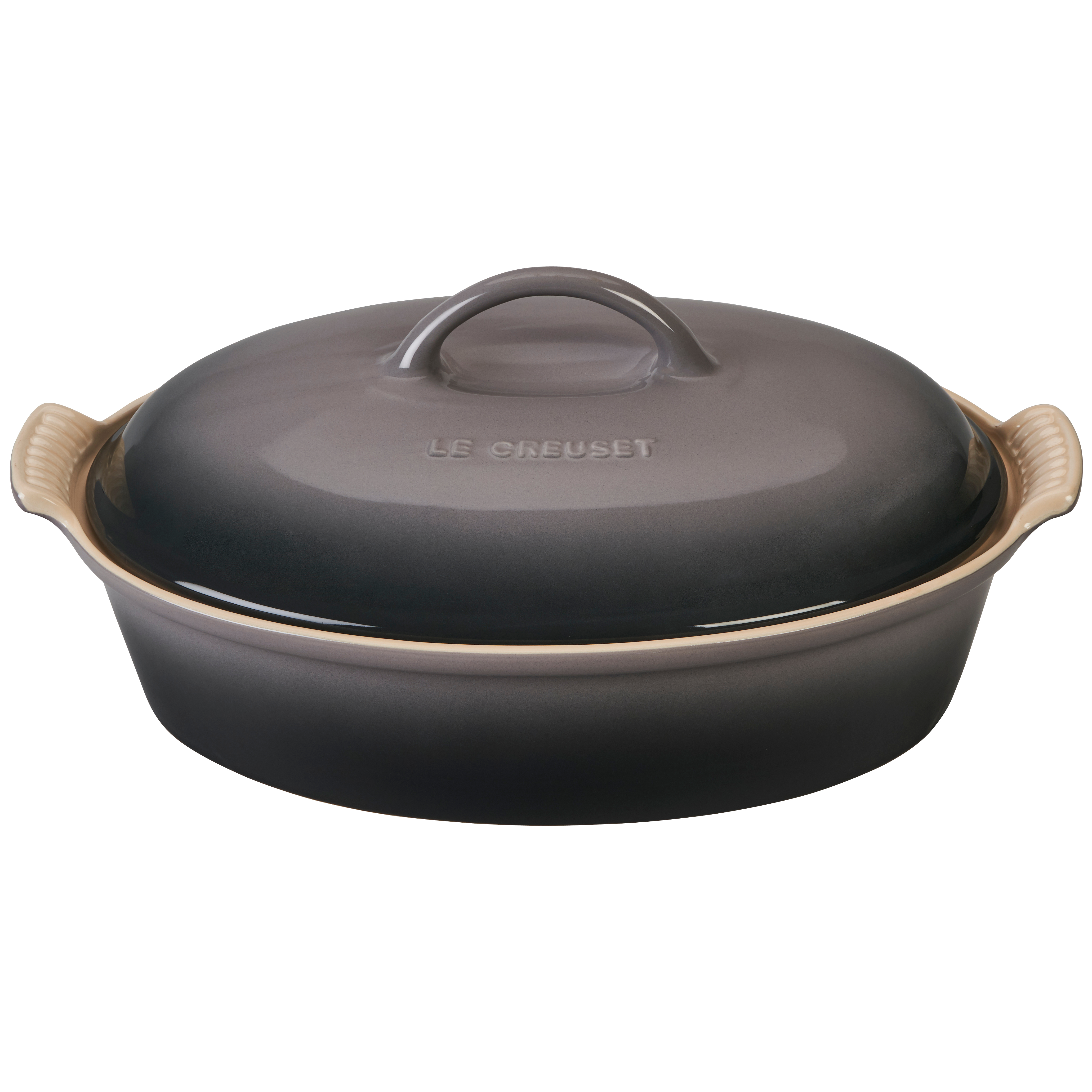 Le Creuset Heritage Oyster Stoneware 4 Quart Covered Oval Casserole Dish