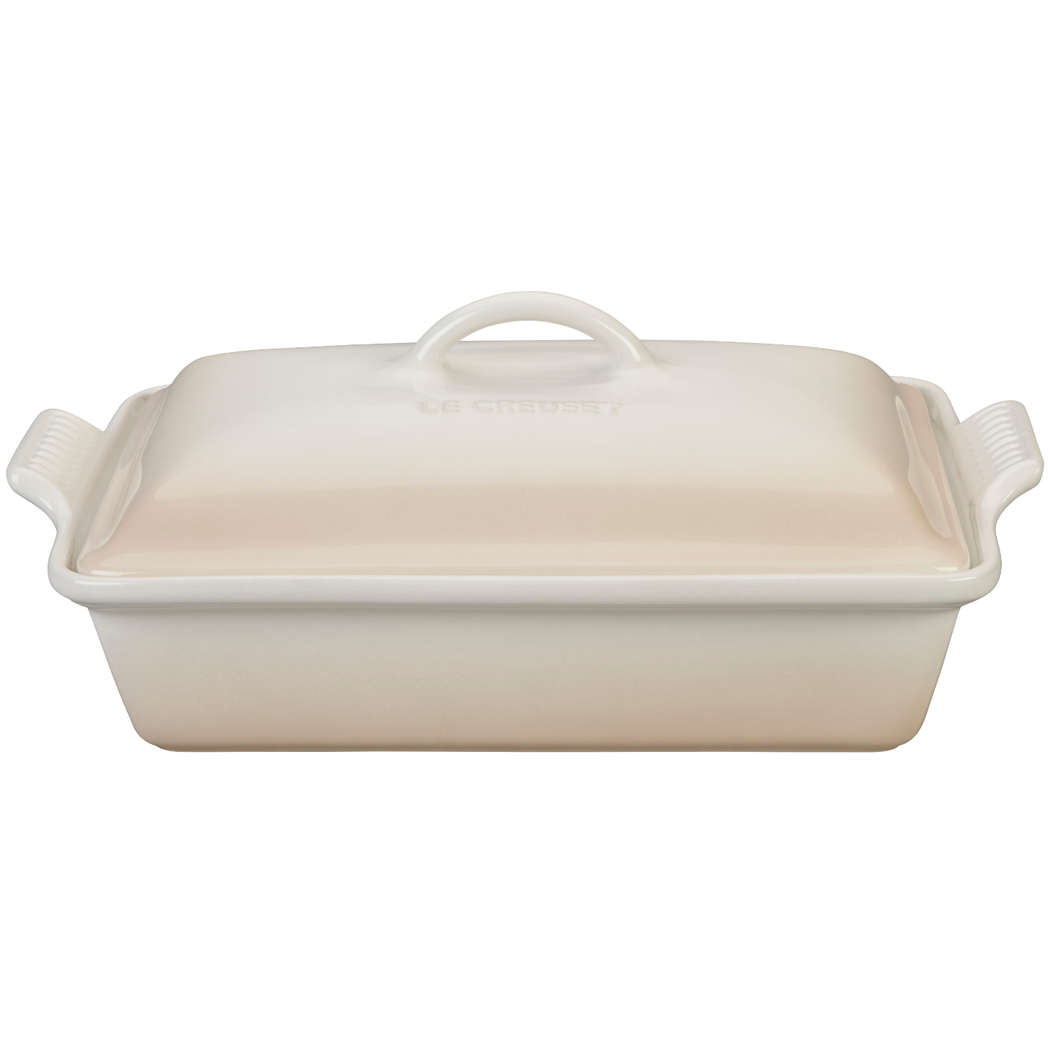 Le Creuset Heritage Meringue Stoneware Covered 4 Quart Rectangular Casserole Dish