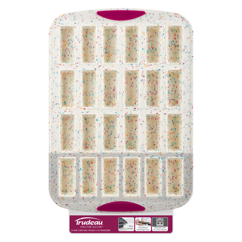 Trudeau Fuchsia 24 Count Mini Bar Pan with Confetti Silicone 11 Inch Jar Spatula