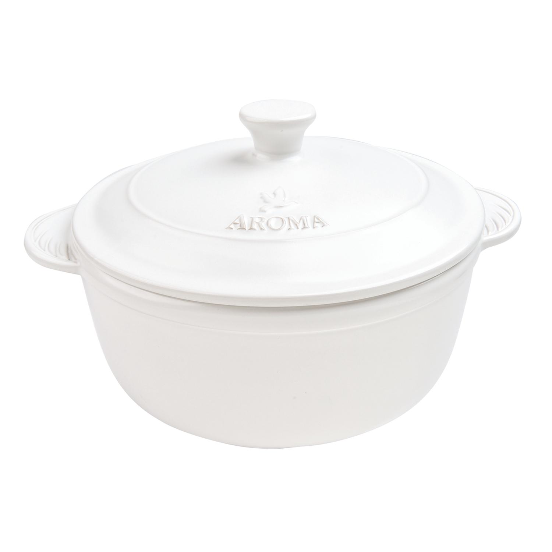 Aroma DoveWare Linen White 2.5 Quart Covered Dutch Oven