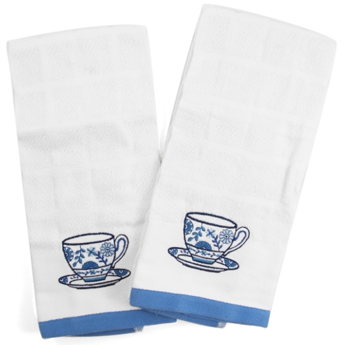 Embroidered Tea Cup Terry Kitchen Towel - Set of 2
