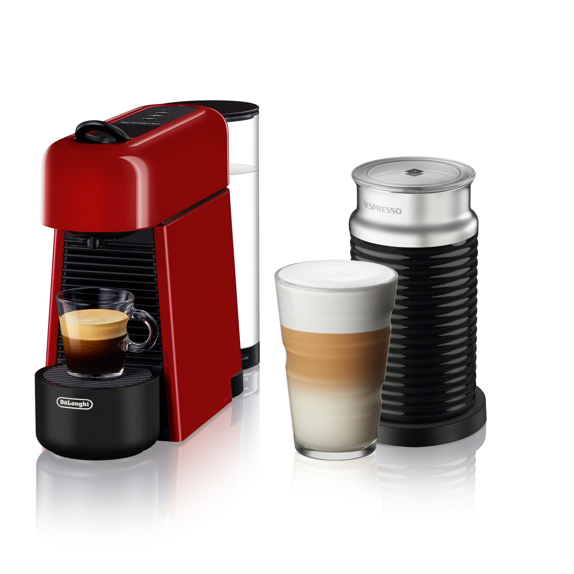 De'Longhi Nespresso Essenza Plus Red Espresso Machine with Aeroccino