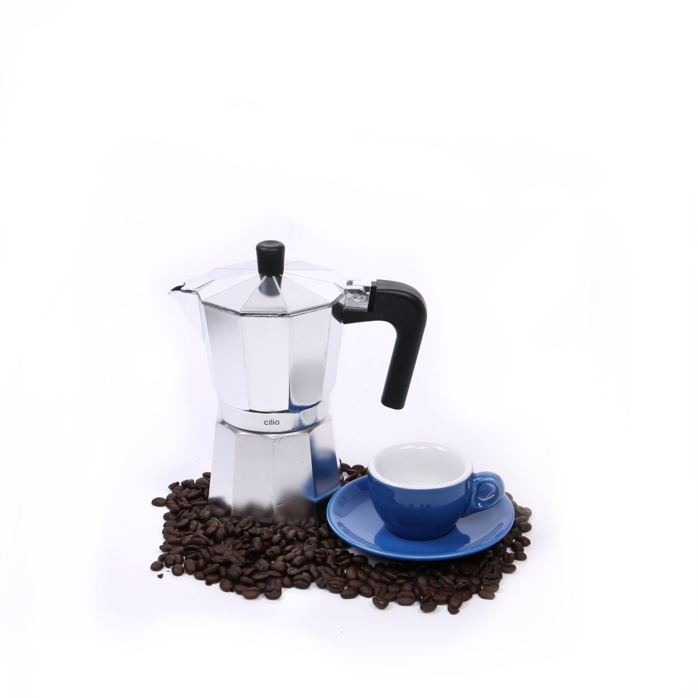 Cilio Classico Induction Ready Espresso Maker with Cilio Roma Dark Blue Porcelain Espresso Cup & Saucer