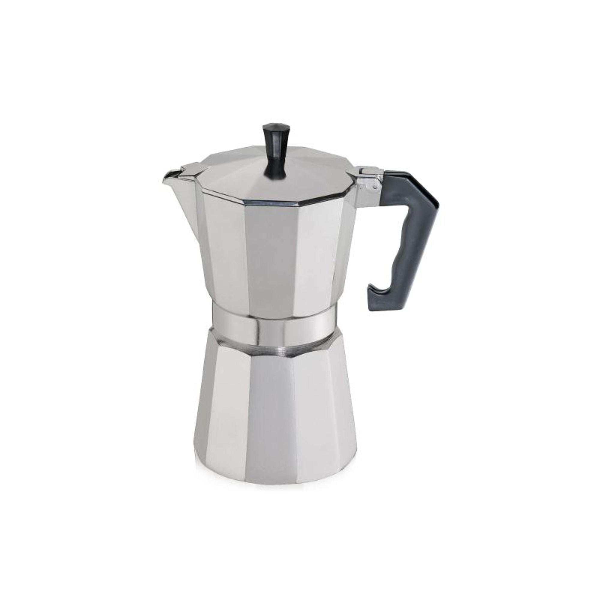 Cilio Classico Induction Espresso Maker with Cilio Roma Dark Blue Porcelain Espresso Cup & Saucer