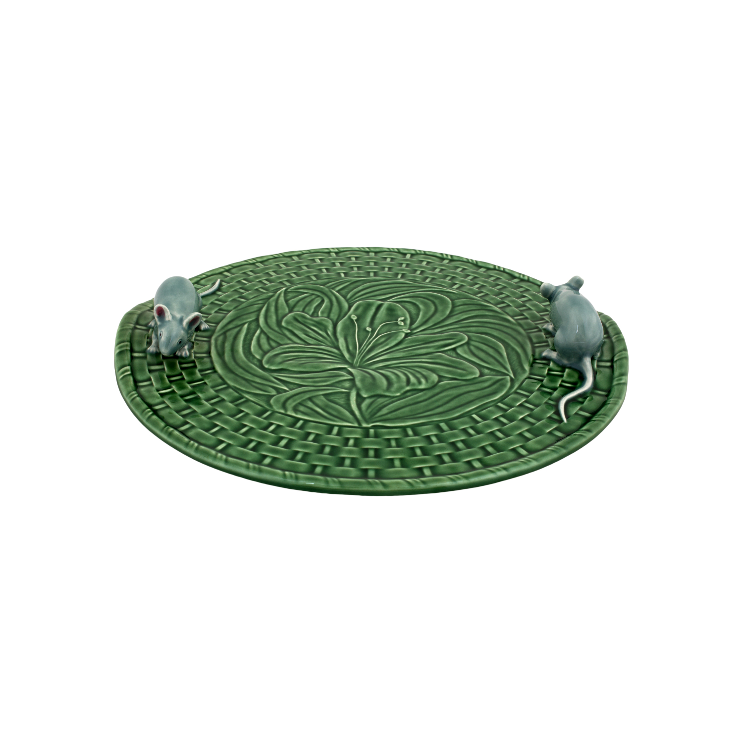 Bordallo Pinheiro Green Lily with Mouse Earthenware Cheese Tray