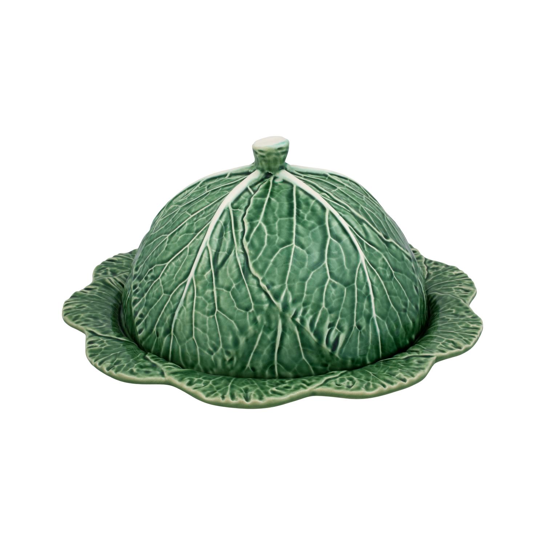 Bordallo Pinheiro Green Cabbage Earthenware Round Cheese Tray